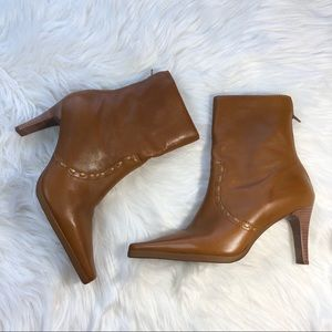 Brown Leather heeled boots by Unisa